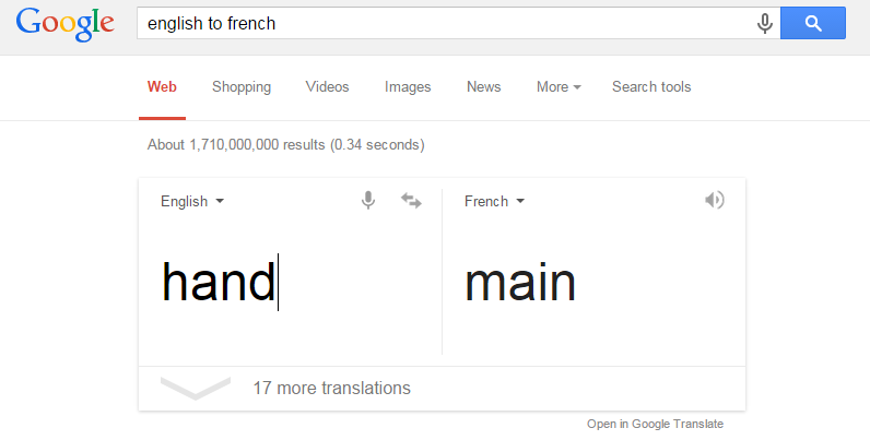hand is main in french