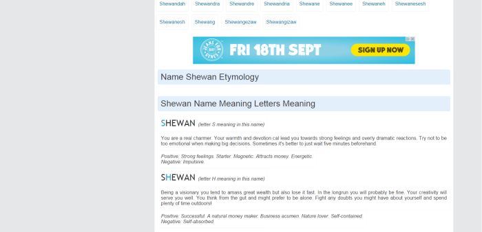 shewan meaning middle