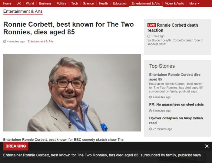 Breaking Beeb News Corbett Dies