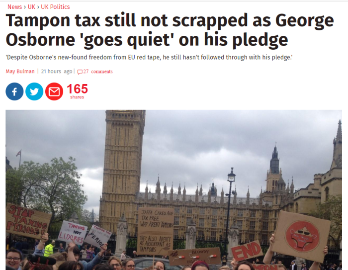 Tampon Tax Headline