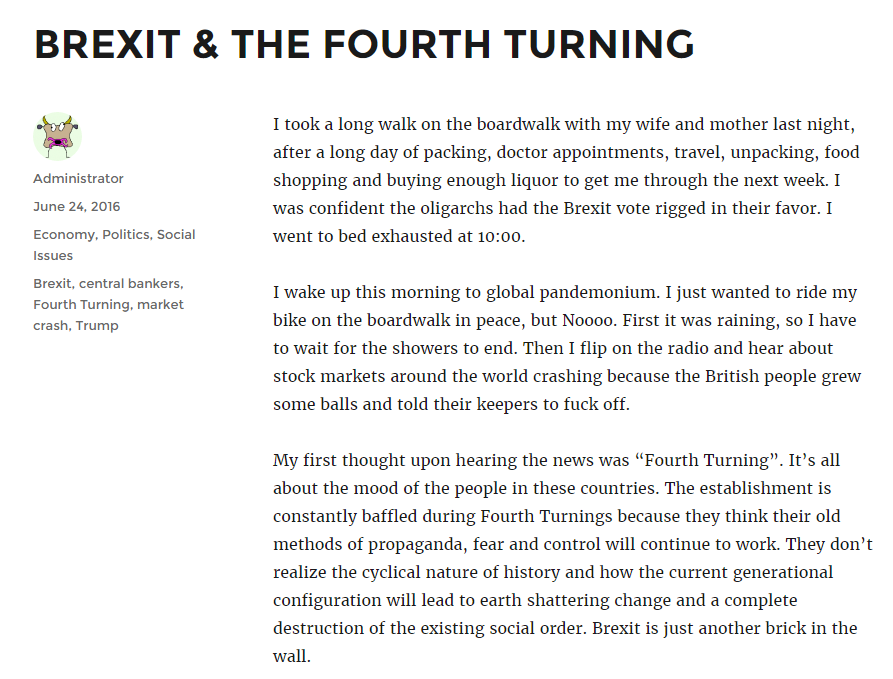 Burning Platform Brexit and the Fourth Turning