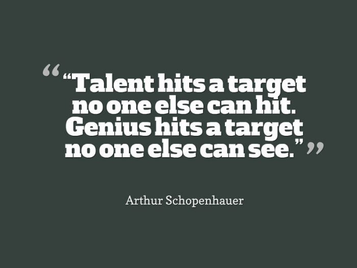 Arthur Schopenhauer The difference between talent and genius