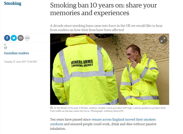 guardian wants views on smoking ban