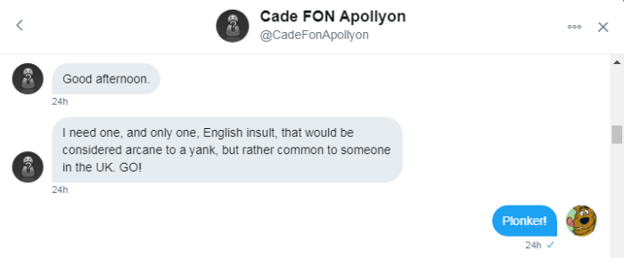 Cade asks for insult Roob says plonker