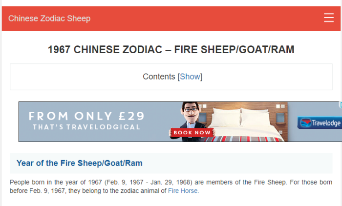 Chinese Zodiac Fire Sheep