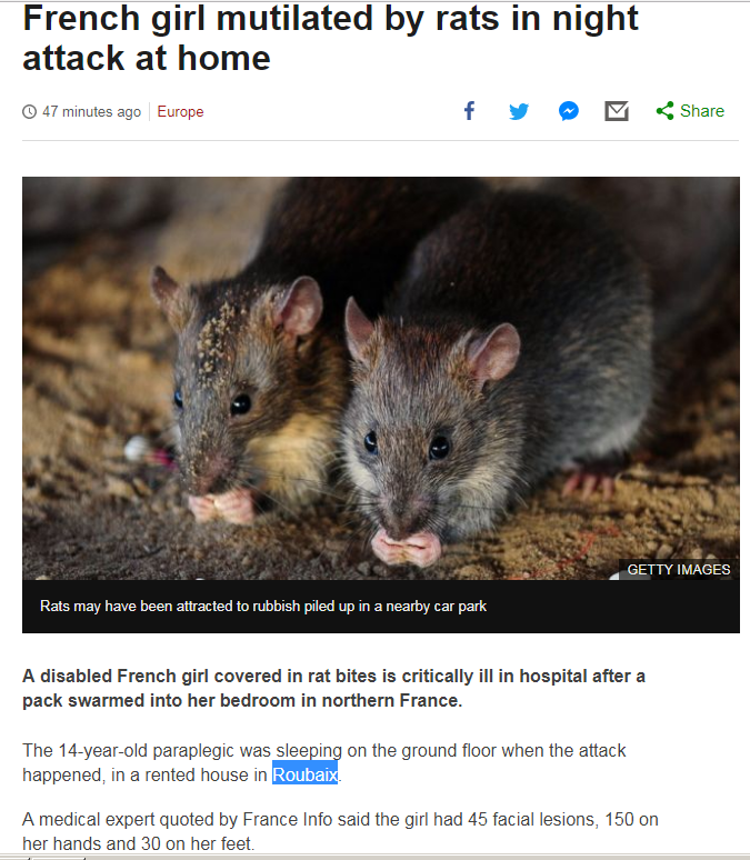 French girl mutilated by rats