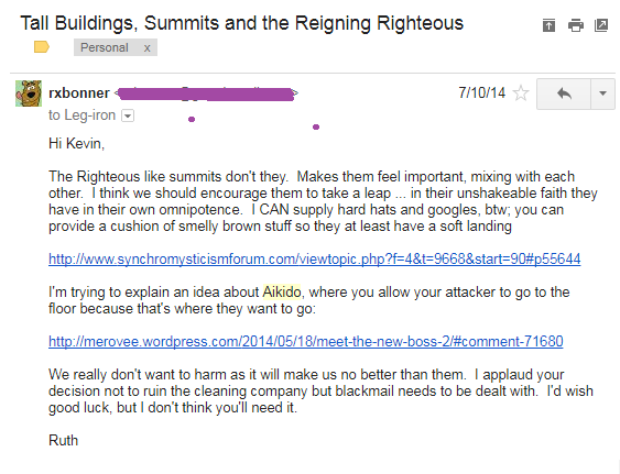 Email 011014 from Roob to Leggy about Aikido