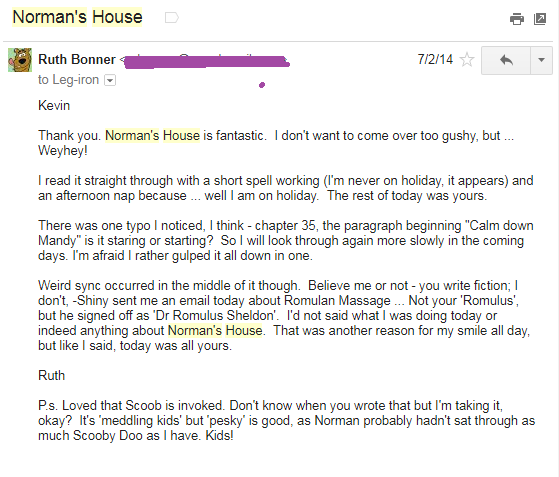 Email from Ruth to Kevin on 2nd July 2014 Norman's House