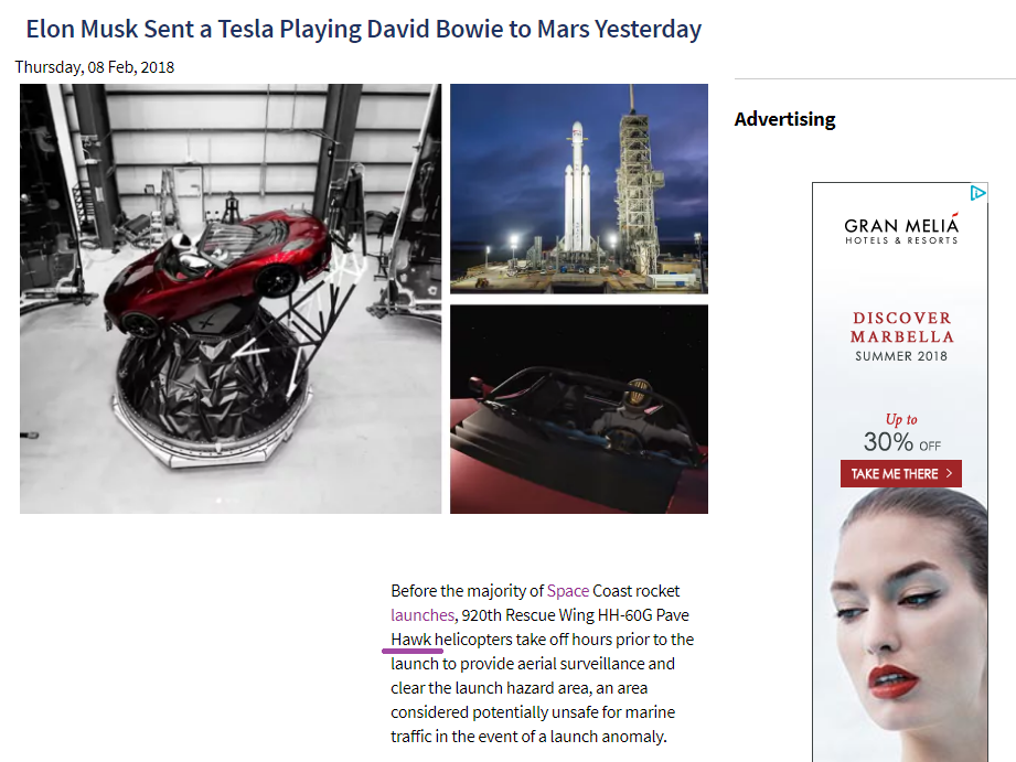 Elon Musk Sent a Tesla into space playing David Bowie