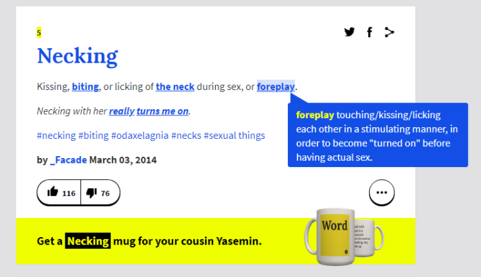 urban dictionary necking