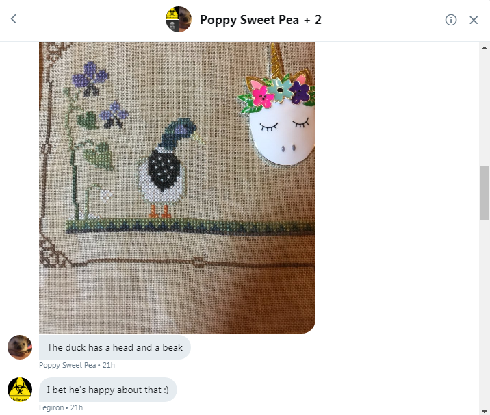 Poppy show cross stitch duck to Roob Cade and Legs 1